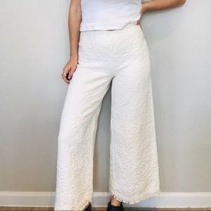 Vintage white wide leg high waisted tapestry pants